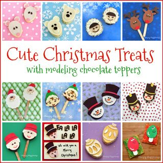 Cute Christmas treats with modeling chocolate toppers including cookies, Rice Krispie Treats, chocolate candies, and more.