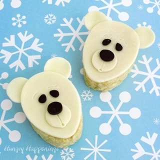Polar Bear Rice Krispie Treats decorated with a modeling chocolate topper.