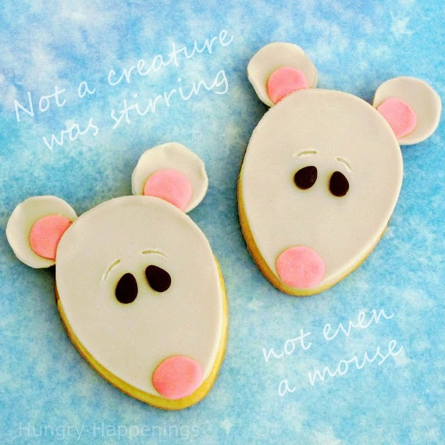 Adorable Christmas Mouse Cookies are easy to make using modeling chocolate.