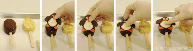 How to make chocolate dipped rice krispie treat penguins with modeling chocolate toppers.
