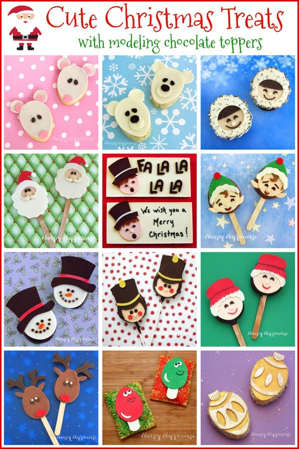 Cute Christmas desserts including Christmas Mouse Cookies, Santa Claus Lollipops, Snowman Chocolates, Reindeer Chocolate Pops, and more.