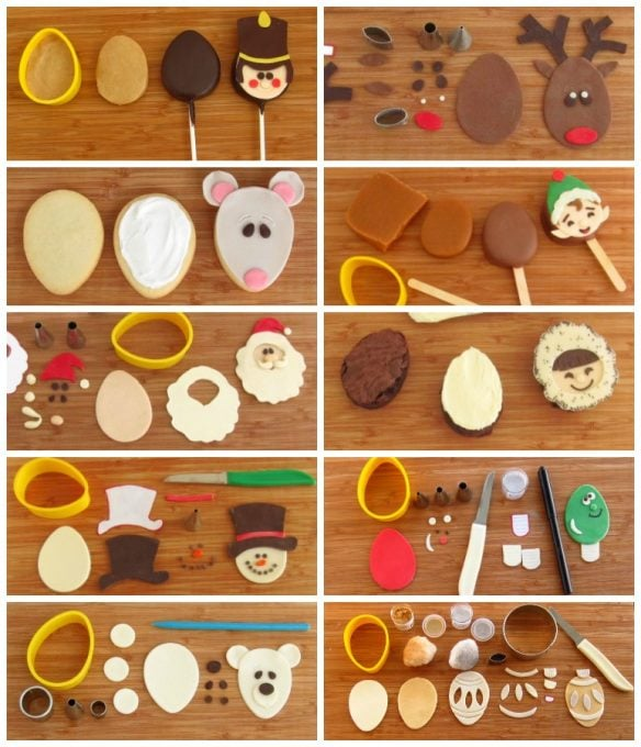 Cut treats like cookies, brownies, or rice krispie treats into egg shapes them decorate them with modeling chocolate Christmas toppers.