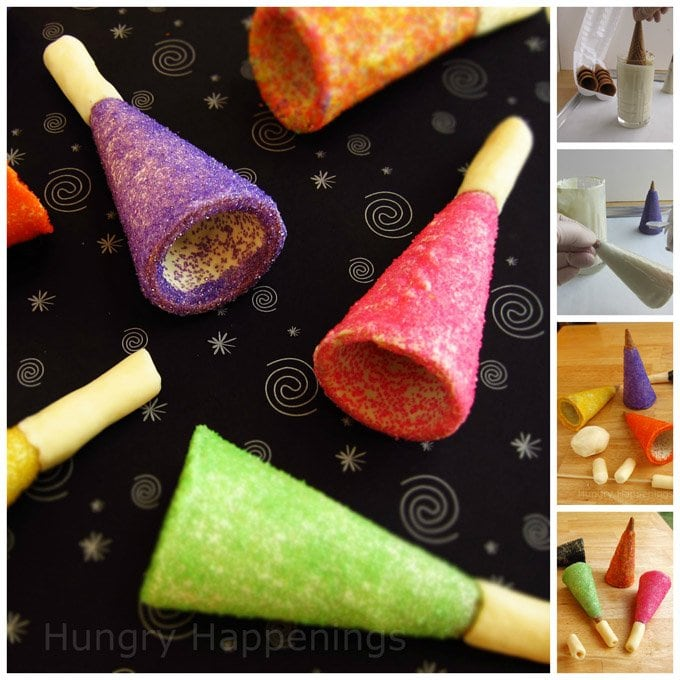 Turn a store bought ice cream cone into a brightly colored Sugar Cone Party Horn for your New Year's Eve celebrations. They are as fun to make as they are to eat.