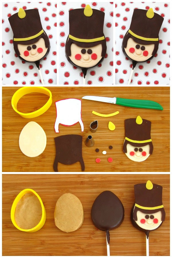 Dip peanut butter fudge into chocolate then top that with a modeling chocolate design to create these cute Toy Soldier Lollipops for Christmas.
