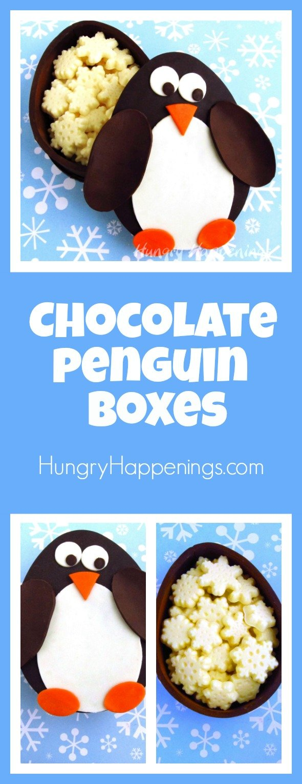 I think that the best container to hold your sweets in, is one that you can eat afterwards. So, I made this Chocolate Penguin Box with White Chocolate Snowflakes to hold all your goodies.