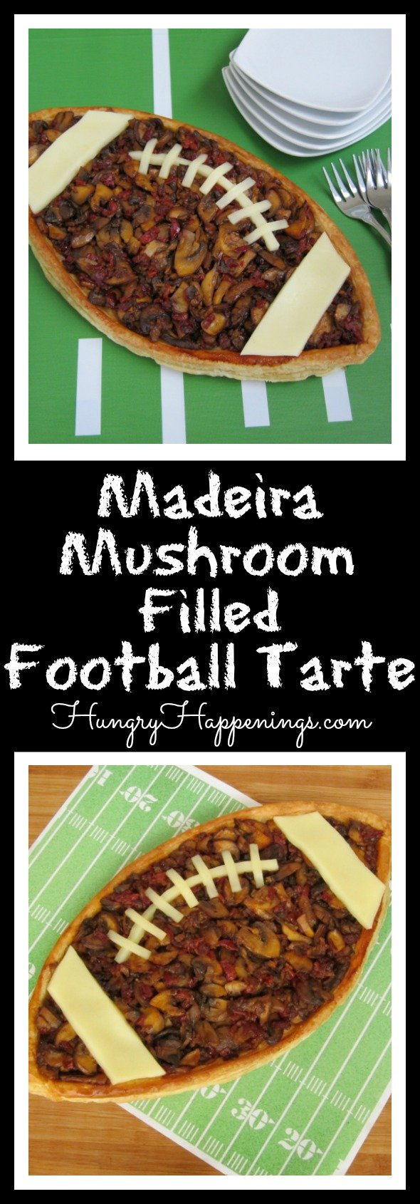 This Madeira Mushroom filled Football Tart is for all the mushroom lovers at the party. There can never be enough of them in a dish, and this appetizer proves it!