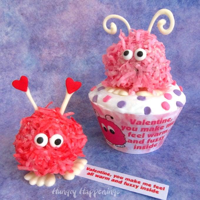 Valentine's Day Cake Balls decorated like warm fuzzies.