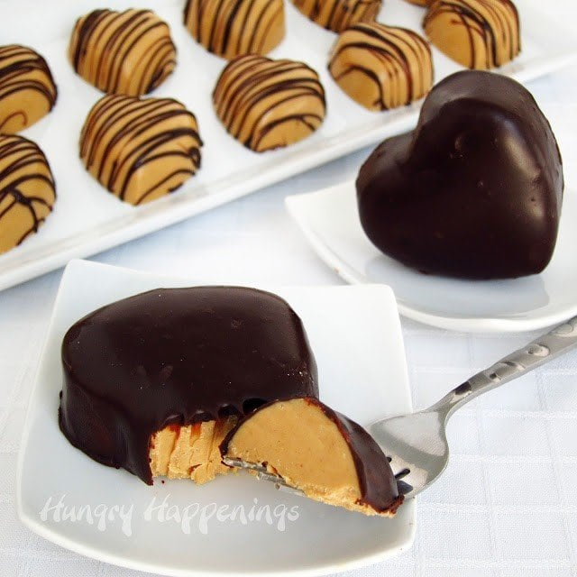 chocolate ganache covered peanut butter fudge hearts