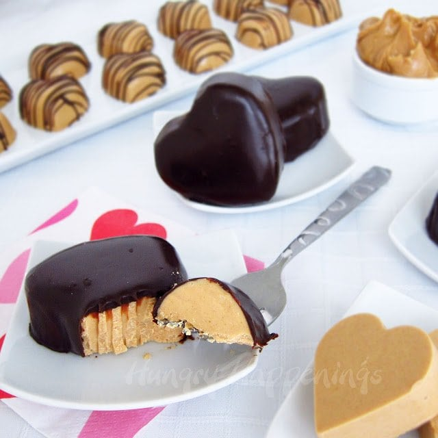 peanut butter fudge hearts are either dipped in creamy chocolate ganache, served plain, or drizzled in chocolate