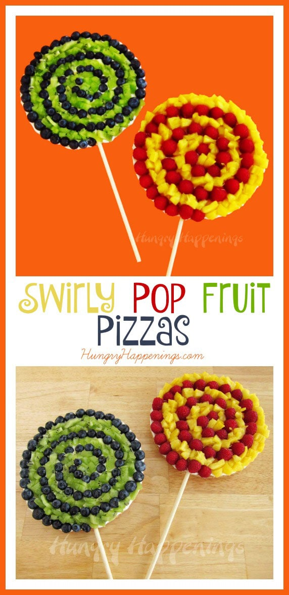 Looking for a fun and pretty treat? These Swirly Pop Fruit Pizzas are a great addition to any party, and you can use any of your favorite fruits on these tasty desserts!