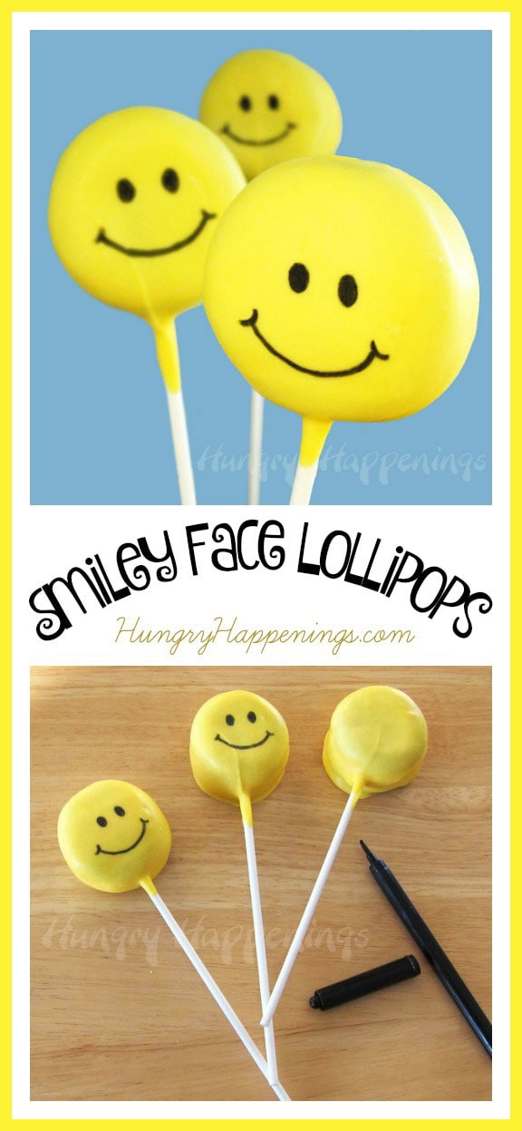 Put a smile on anyones face by giving them some Smiley Face Lollipops! These simple treats are made from Oreo Cakesters and are an easy way to cheer someone up.