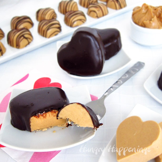 Chocolate ganache covered peanut butter fudge hearts and chocolate drizzled peanut butter fudge hearts