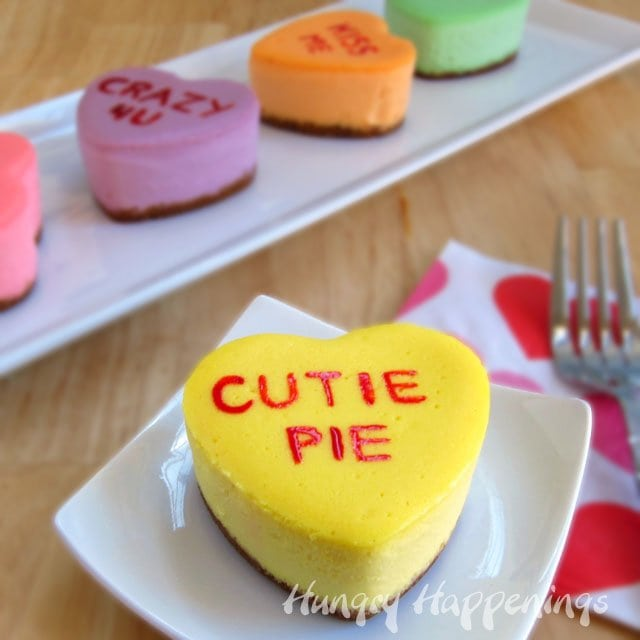 This Valentine's Day tell someone how much you care by sharing some Conversation Heart Cheesecakes.