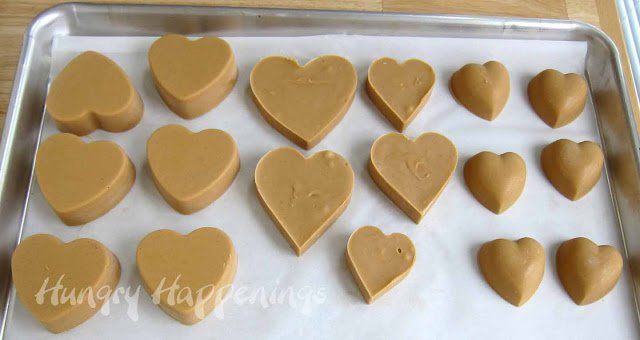 heart-shaped peanut butter fudge hearts