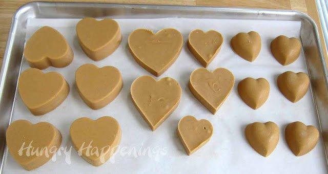 heart-shaped peanut butter fudge hearts