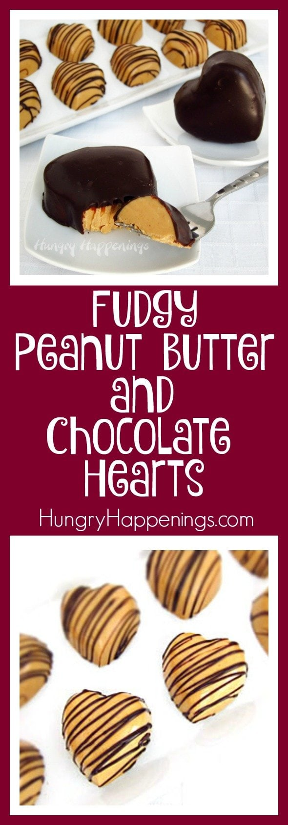 chocolate dipped peanut butter fudge hearts and chocolate drizzled peanut butter fudge hearts