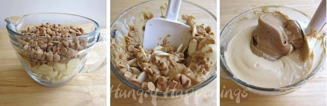 making peanut butter fudge using white chocolate and peanut butter chips