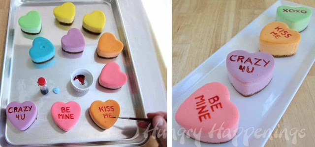 decorate conversation heart cheesecakes
