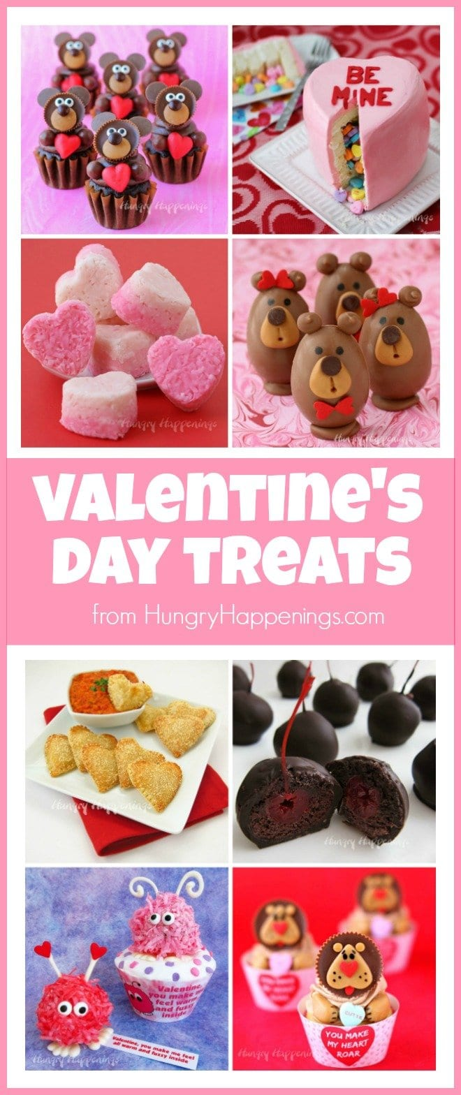 Have fun making food crafts and Valentine's Day treats. See recipes to make chocolates, cookies, cupcakes, and more at HungryHappenings.com.