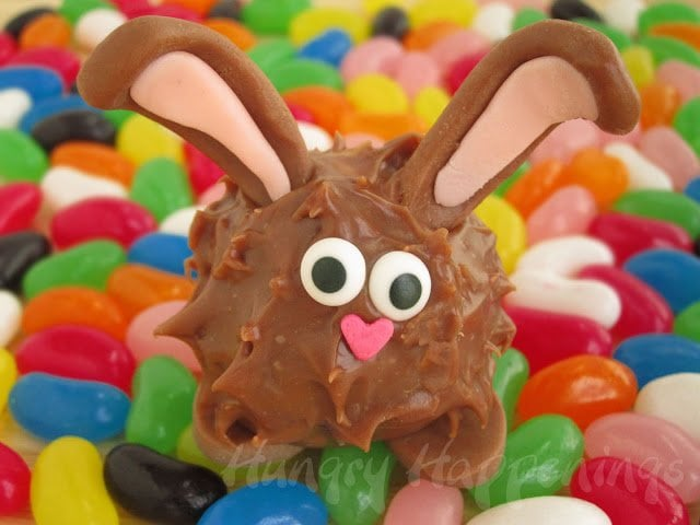 Adorably cute chocolate Easter Bunny with peanut butter fudge inside.