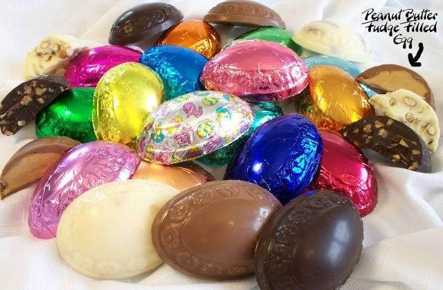 Peanut Butter Fudge Filed Chocolate Easter Eggs