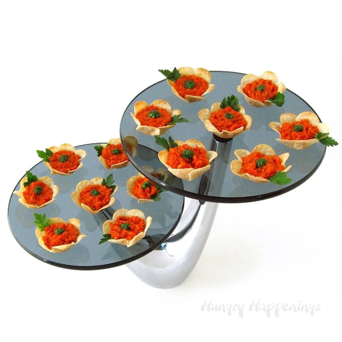 Roasted red pepper pesto tart flowers decorated with parsley leaves