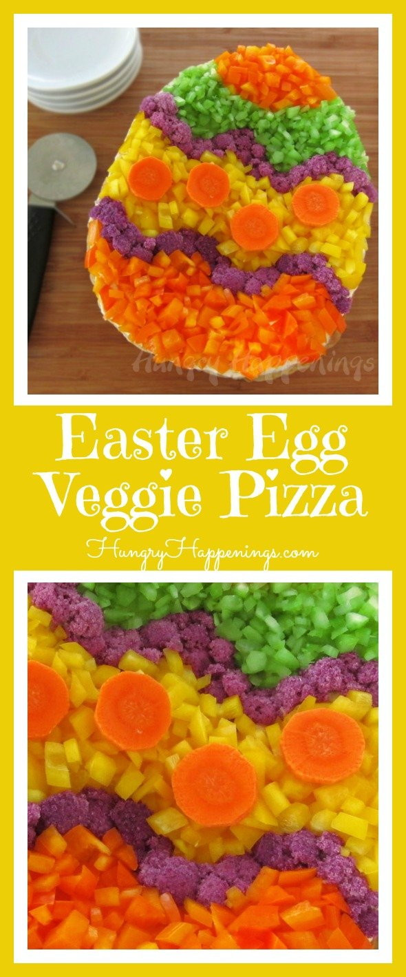 With all the sweets you'll be eating on Easter you have to have something healthy! This delicious Easter Egg Veggie Pizza will be sure to have your family and friends dying over this veggie goodness.