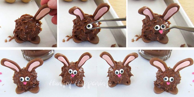 How to make peanut butter fudge filled chocolate Easter bunnies with big floppy ears and cute pink noses.