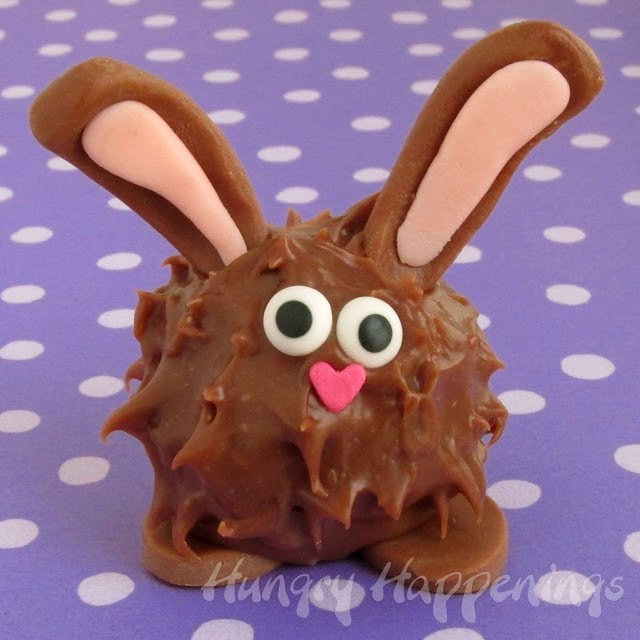 Homemade chocolate Easter Bunny filled with Peanut Butter Fudge.