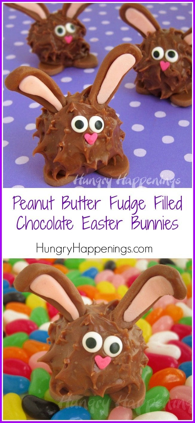 FIll you baskets with Peanut Butter Fudge Filled Chocolate Easter Bunnies. Each fudge filled treat is coated in milk chocolate ganache and tastes as good as they look.