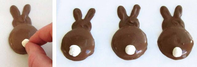 Cute chocolate bunny silhouettes made using vanilla wafer cookies make great treats for Easter.