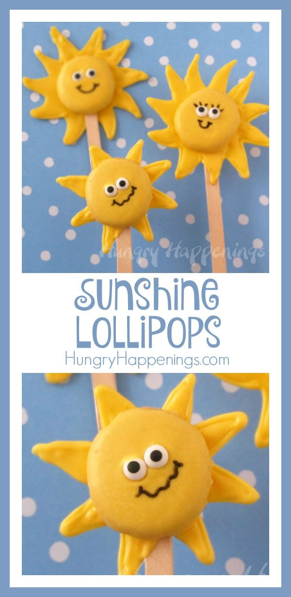 Add some sunshine to your day with these adorable Sunshine Lollipops! These simple treats are so much fun to make and they are a great addition to any party!