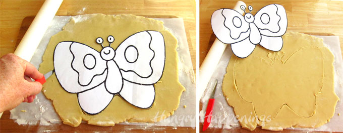 use butterfly coloring pages as a template to cut out a butterfly cookie crust for your fruit pizza