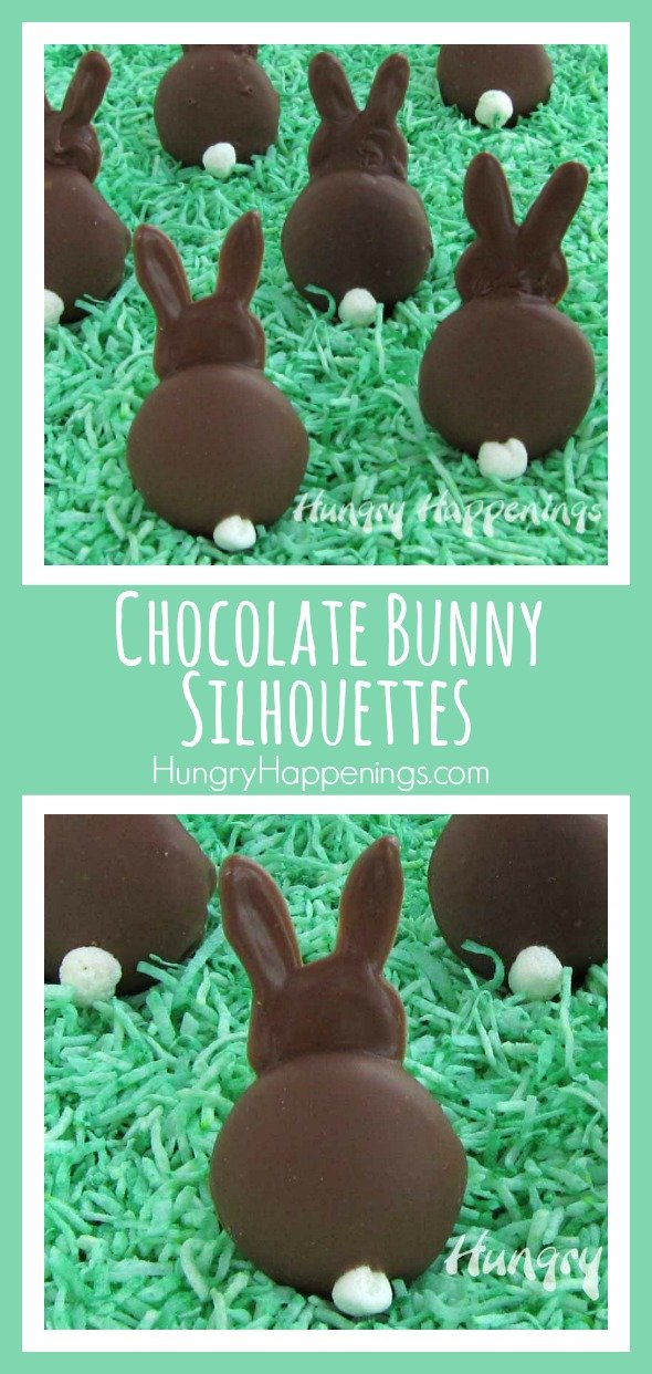 Chocolate Bunny Silhouettes made using vanilla wafers are sitting in a field of green colored coconut.