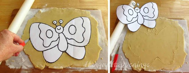 cutting cookie into butterfly
