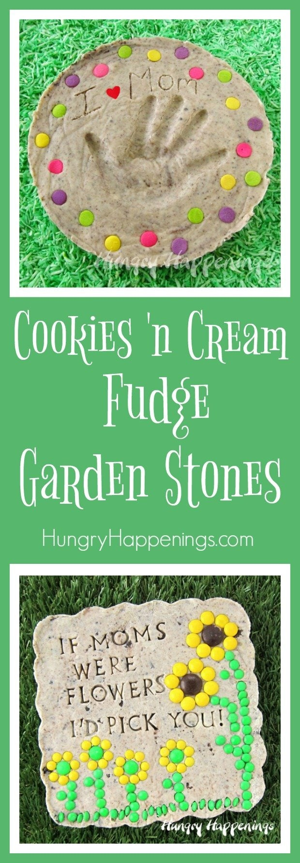 A homemade gift for your mom on Mother's Day will surely win her heart and these edible Cookies and Cream Fudge Garden Stones are a unique treasure she will love.