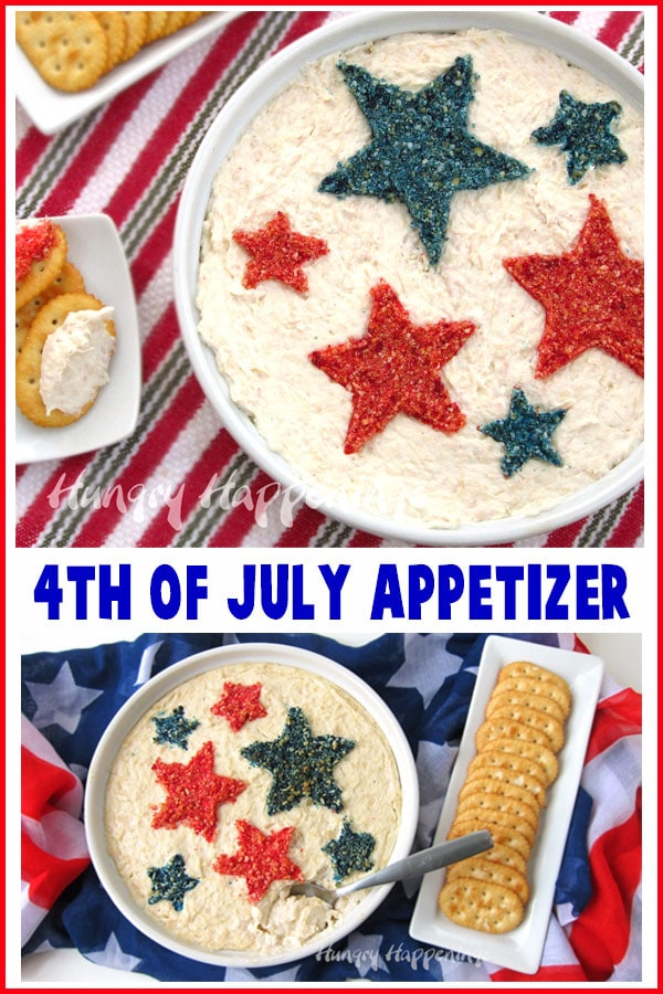 Hot chicken dip decorated for the 4th of July with red and blue stars is served with crackers.