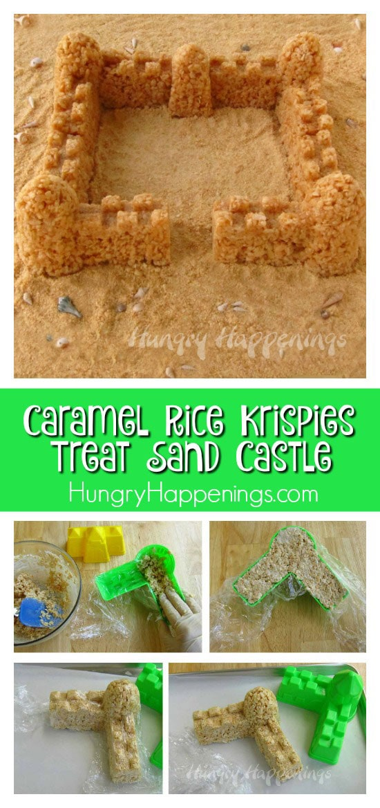Build a castle to be the center of attention at your beach themed party! This Caramel Rice Krispies Treat Sand Castle is a simple dessert that will have your guests' jaws dropping!