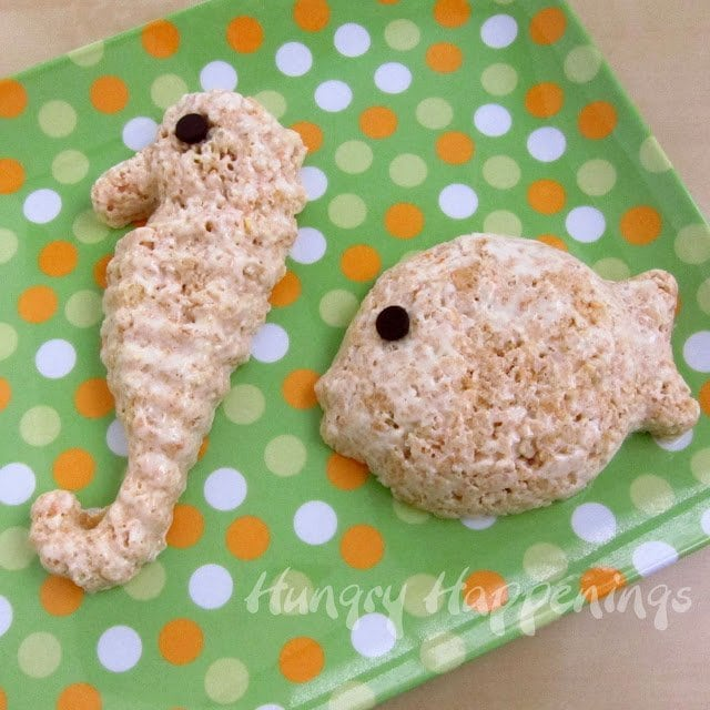 Rice Krispie Treat fish and seahorse