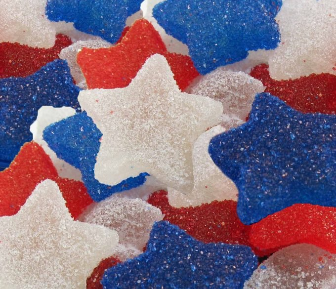 Red, white and blue gumdrop stars.