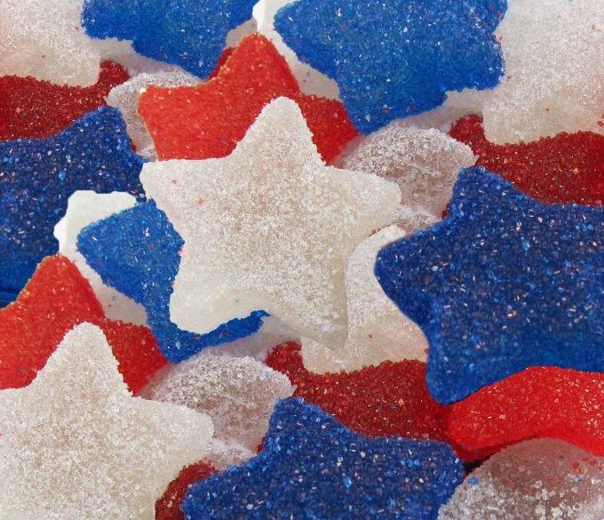 Red, white and blue gumdrop stars.