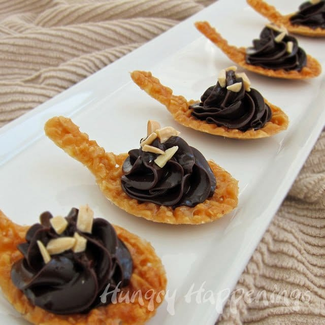 Looking for an elegant dessert to make for a special occasion? These Almond Nougatine Spoons filled with Chocolate Ganache are the way to go! With the perfect ratio of crunchy to creamy ganache these treats are to die for.