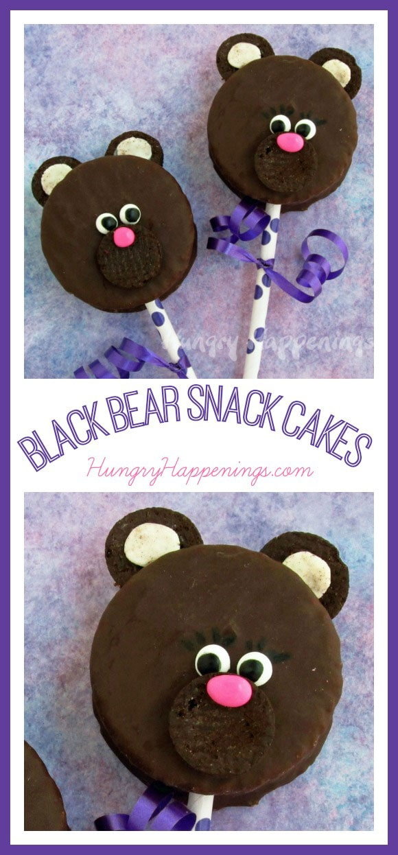 Have fun with your kids and make these Black Bear Snack Cakes! This super simple treat is so adorable and so yummy, but it may be way too cute to eat!