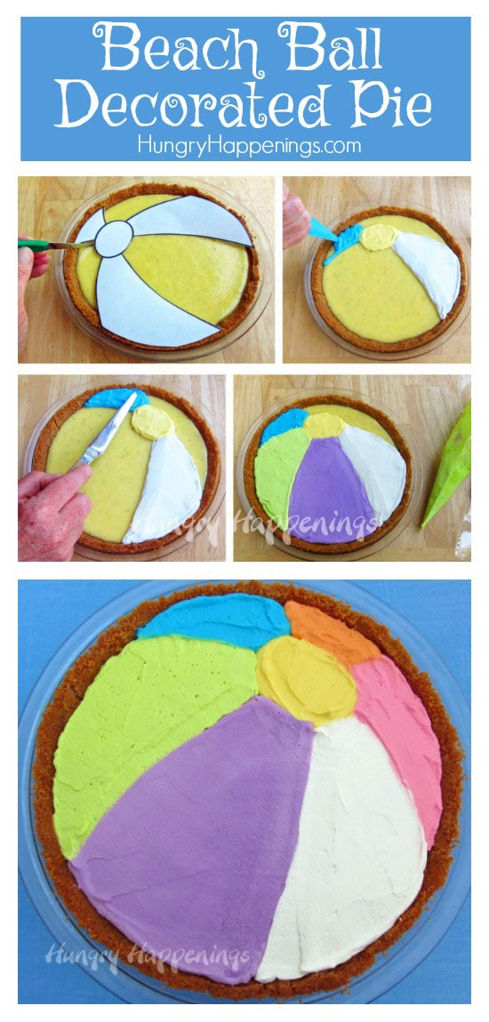 Having a beach themed party and need a dessert idea? Try making this Decorate Pie To Look Like A Beach Ball! This fun dessert is a ball to make and is the perfect addition to your party!