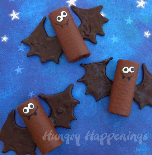 Hostess Ho Ho's decorated to look like bats with chocolate wings and candy eyes.