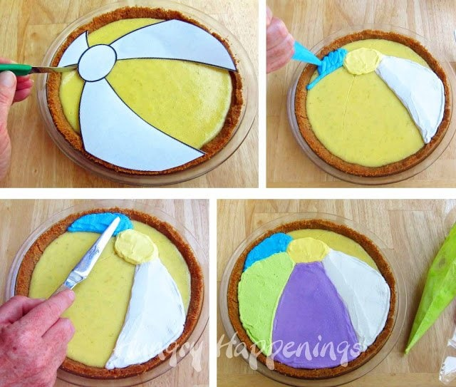 decorating a Pie To Look Like A Beach Ball