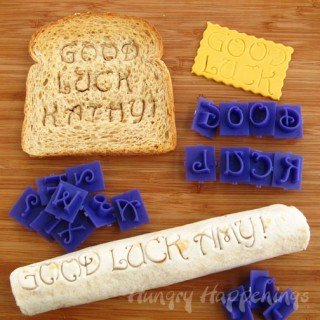 Use alphabet stamps to create sweet messages for your kid's lunch