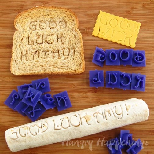 Use Alphabet Stamps to create sweet messages on your kids lunches