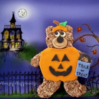 Cocoa Krispies Trick or Treat Bears in pumpkin costumes for Halloween