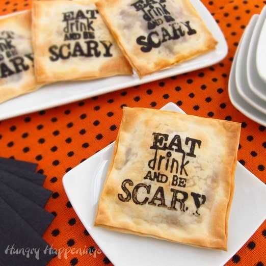 These Madeira Mushroom Filled Won Ton Halloween Appetizers are decorated in spooky sayings and stuffed with delicious filling! Add your favorite stamp to add a festive flare to your Halloween appetizers!
